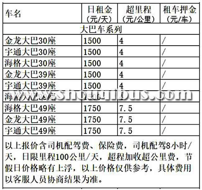 北京大巴包车带司机多少钱一天?具体的包车价格单